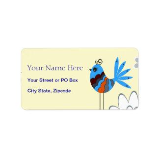 Pájaros azules decorativos modernos etiqueta de dirección