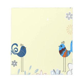 Pájaros azules decorativos modernos libretas para notas