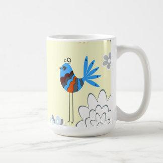 Pájaros azules decorativos modernos taza clásica