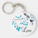 Pájaros azules del amor llaveros personalizados