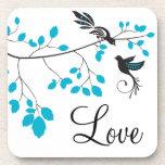 Pájaros azules del amor posavaso