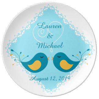 Pájaros azules del amor que casan el recuerdo platos de cerámica