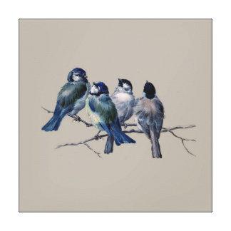 Pájaros azules del arte imponente del vintage en impresion de lienzo