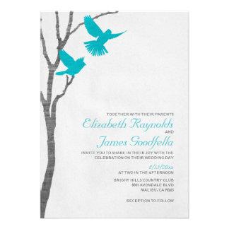 Pájaros azules del vintage que casan invitaciones