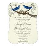 Pájaros azules del vintage que casan invitaciones invitaciones personales