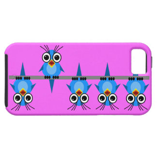 pájaros azules divertidos iPhone 5 carcasa