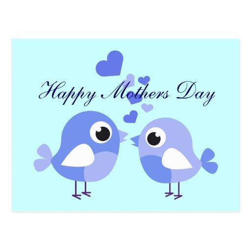 Pájaros azules dulces para la postal de la madre