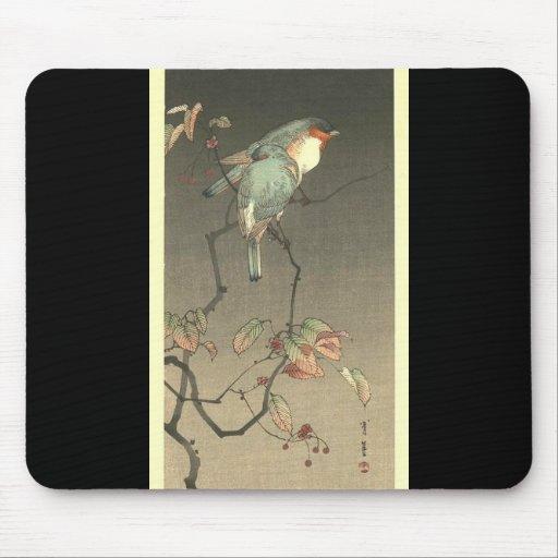 Pájaros azules en la noche de Seitei Watanabe 1851 Alfombrilla De Ratón