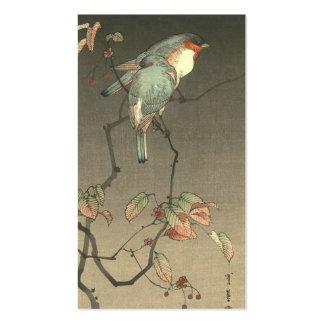 Pájaros azules en la noche de Seitei Watanabe 1851 Tarjeta De Visita