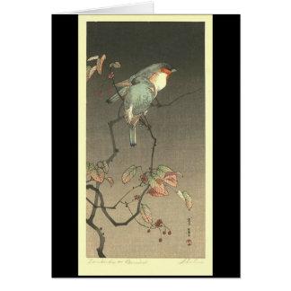 Pájaros azules en la noche de Seitei Watanabe 1851 Tarjeta De Felicitación