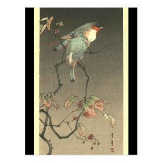 Pájaros azules en la noche de Seitei Watanabe 1851 Tarjeta Postal