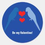 Pájaros azules en pegatina del amor