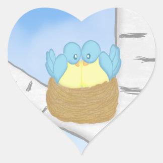 Pájaros azules en pegatinas de la jerarquía pegatina de corazon personalizadas