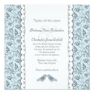 """Pájaros azules felices que casan el cuadrado de invitación 5.25"""" x 5.25"""""""
