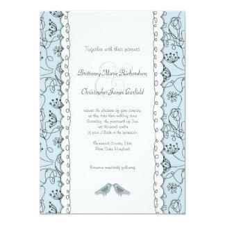 """Pájaros azules felices que casan el presupuesto de invitación 5"""" x 7"""""""