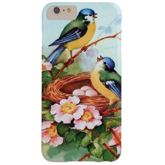 Pájaros azules lindos en primavera funda barely there iPhone 6 plus