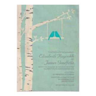 """Pájaros azules lindos que casan invitaciones invitación 5"""" x 7"""""""