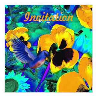 """Pájaros azules mágicos de los pensamientos de la invitación 5.25"""" x 5.25"""""""
