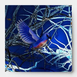 Pájaros azules mágicos del sobre
