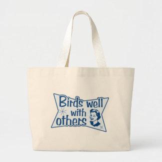 Pájaros bien con otros bolsa tela grande