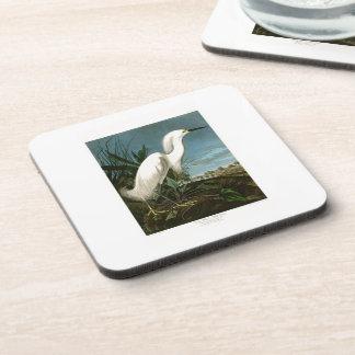 Pájaros blancos de Audubon del Egret de la garza Posavasos De Bebidas