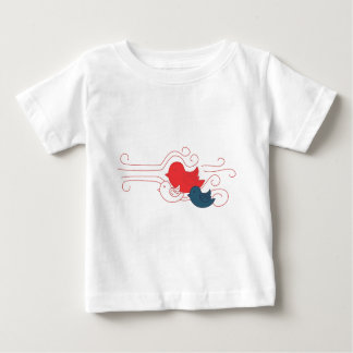 Pájaros blancos y azules rojos camisetas