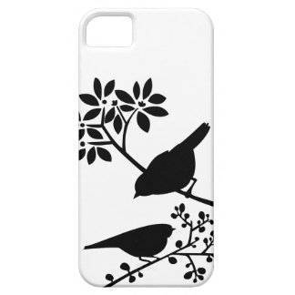 Pájaros blancos y negros iPhone 5 fundas