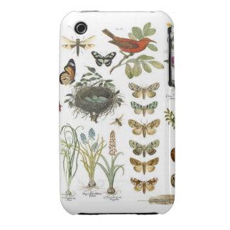 pájaros botánicos franceses y flores del vintage funda bareyly there para iPhone 3 de Case-Mate