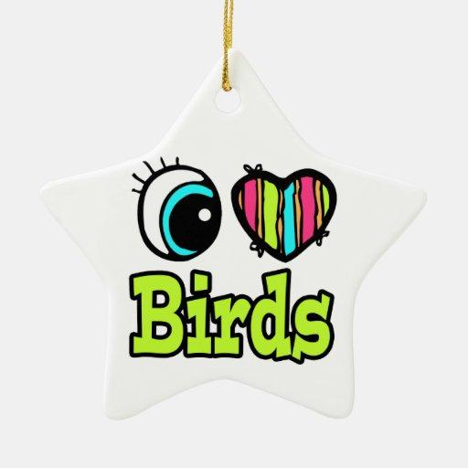 Pájaros brillantes del amor del corazón I del ojo Adorno De Cerámica En Forma De Estrella