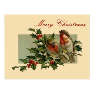 Pájaros cantantes del navidad del vintage y postal