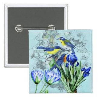 Pájaros cantantes florales ropa y regalos del vint pins