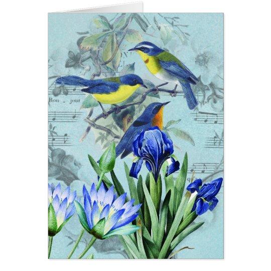 Pájaros cantantes florales ropa y regalos del vint tarjeta de felicitación