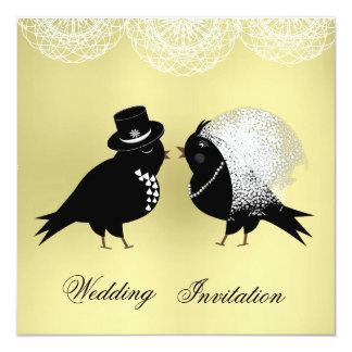 """Pájaros caprichosos lindos del amor de novia y del invitación 5.25"""" x 5.25"""""""