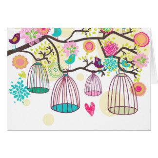 Pájaros caprichosos Notecard Felicitacion