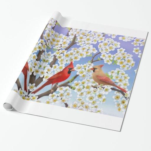 Pájaros cardinales en papel de regalo de los
