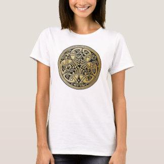 Pájaros célticos y negro - la camiseta del oro del
