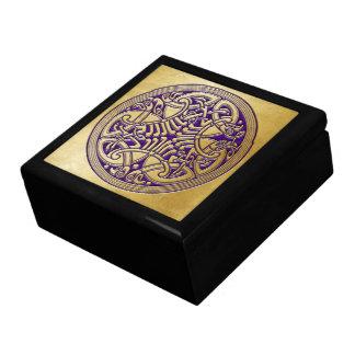 Pájaros célticos y púrpura - caja del oro del nudo cajas de recuerdo