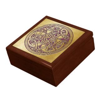 Pájaros célticos y rosa - caja del oro del nudo de cajas de joyas
