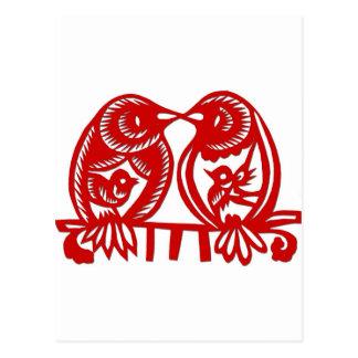 Pájaros chinos del amor del grabar en madera postales
