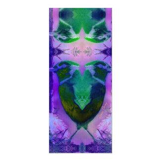 Pájaros color de rosa - violetas y ciclo rosado invitación 10,1 x 23,5 cm
