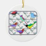 Pájaros coloreados brillantes en un enrejado adorno de navidad