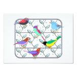 Pájaros coloreados brillantes en un enrejado invitación 12,7 x 17,8 cm