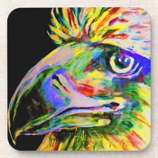 Pájaros coloridos cabeza y pico posavaso