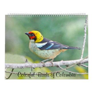 Pájaros coloridos de Colombia Calendarios De Pared
