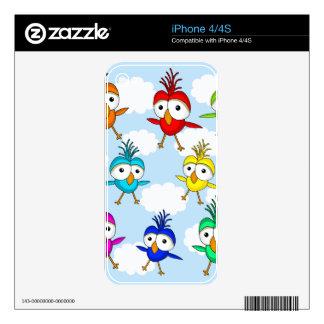 Pájaros coloridos lindos calcomanías para el iPhone 4