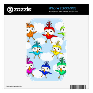Pájaros coloridos lindos skins para eliPhone 3