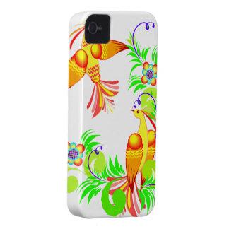 Pájaros coloridos y caja intrépida de Blackberry Carcasa Para iPhone 4