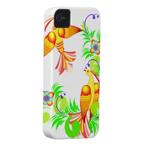 Pájaros coloridos y caja intrépida de Blackberry d Case-Mate iPhone 4 Cárcasas