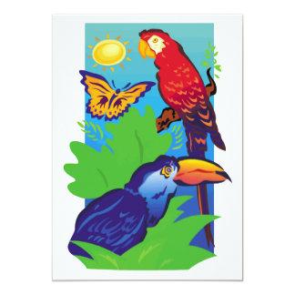 """Pájaros con un instinto tropical invitación 5"""" x 7"""""""