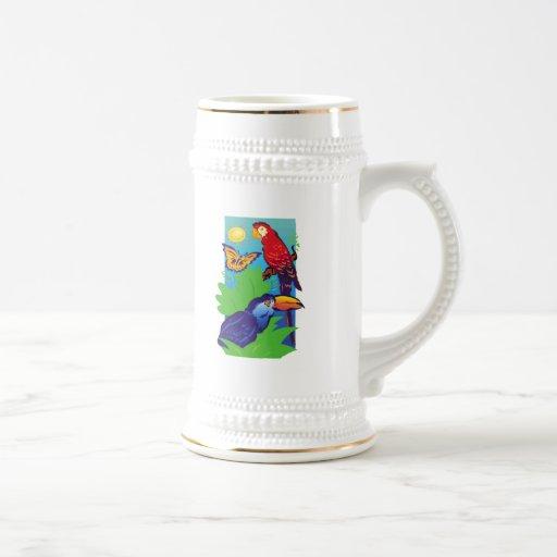 Pájaros con un instinto tropical jarra de cerveza